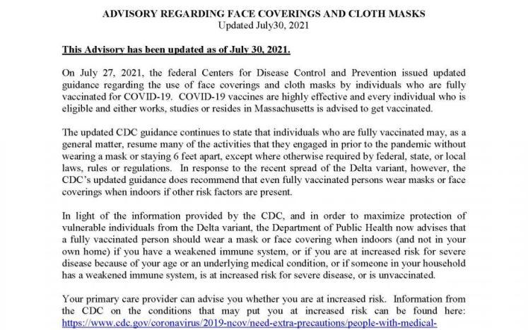 Advisory regarding face coverings and cloth masks update July 30, 2021