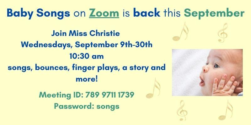 Baby Songs on Zoom this September