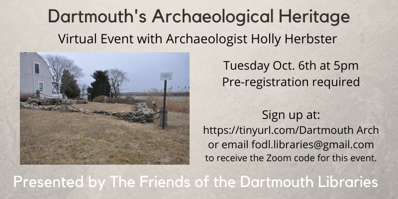 Friends Archaeological Event Oct 6th 5pm