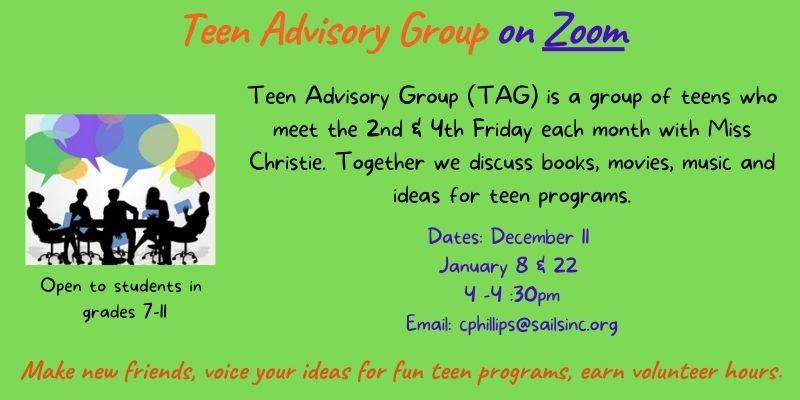 Teen Advosry Group Meets this Friday on Zoom